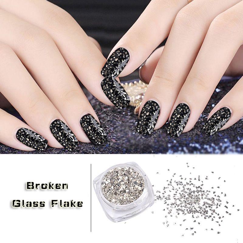 New 5g/box Silver Irregular Broken Glass Flake Nail Art Glitters ...