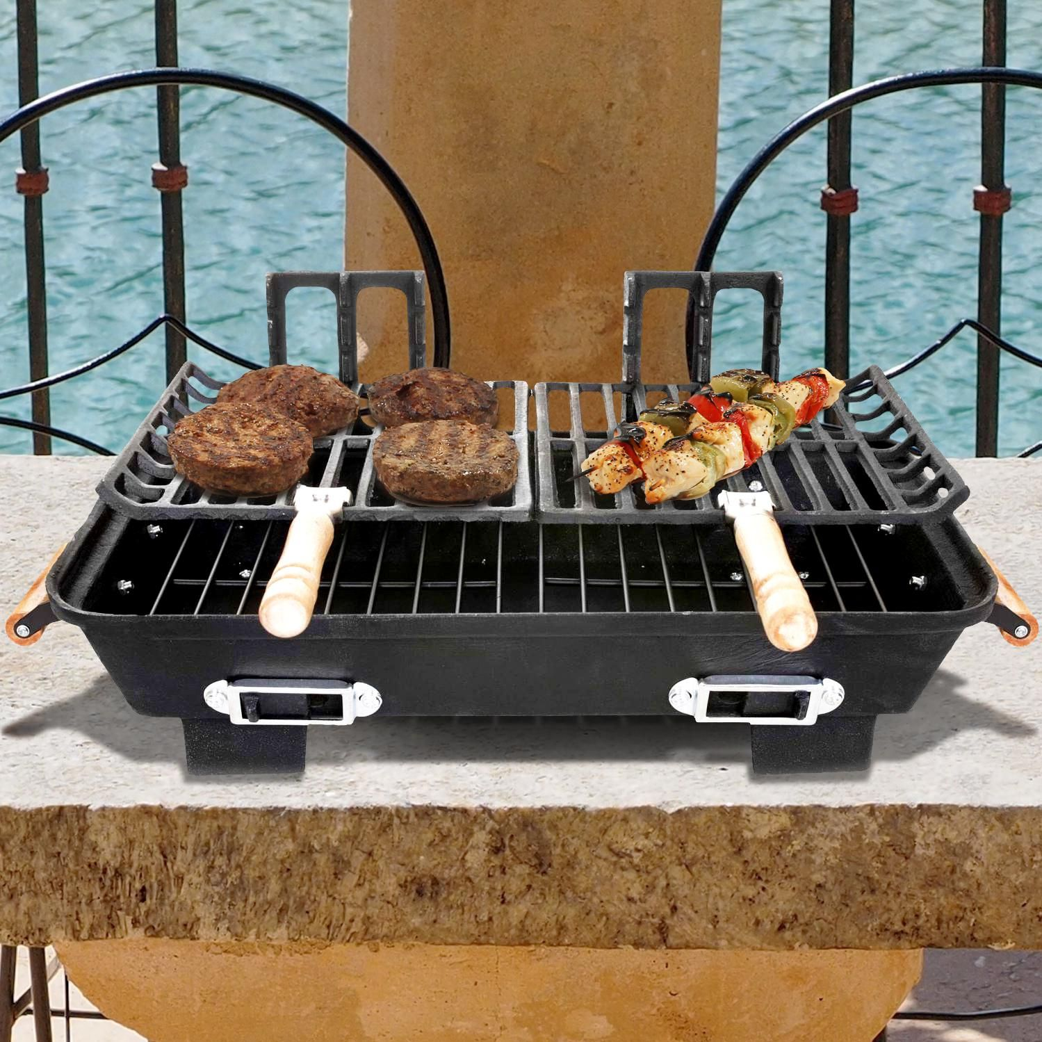 This Bbq Cast Iron Hibachi Charcoal Grill Features Two Multi