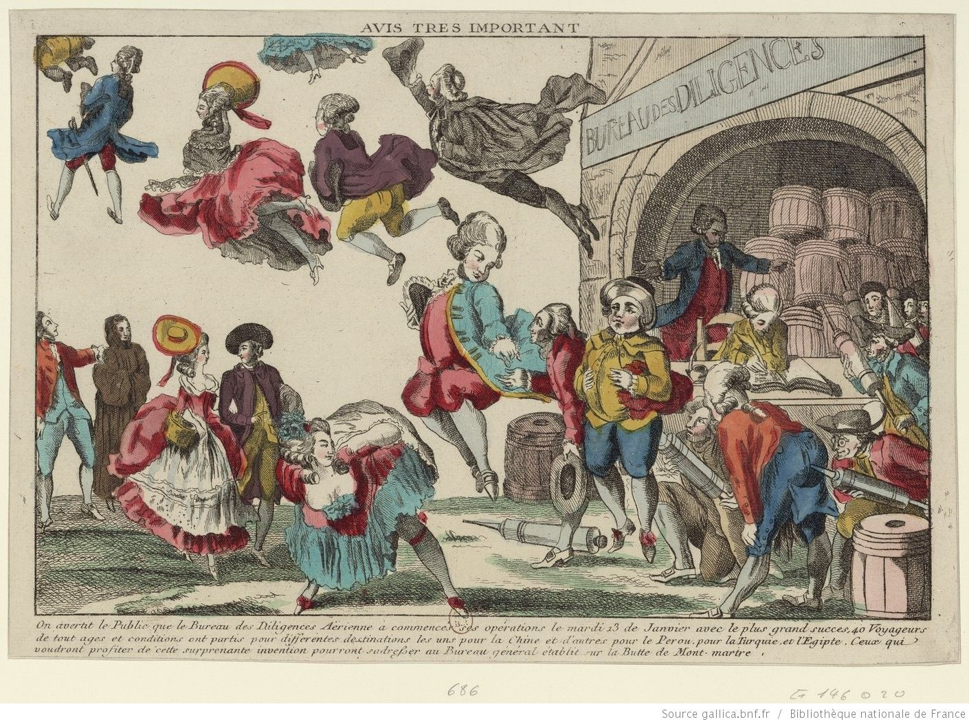 'Avis très important [Very important notice]', 1783. Satire on hot air balloon flight, ostensibly an advertisement. People line up at the 'Bureau des Diligences Aériennes', where assistants with clyster-pipes (enemas) pump them full of air via their rear ends to make them float.