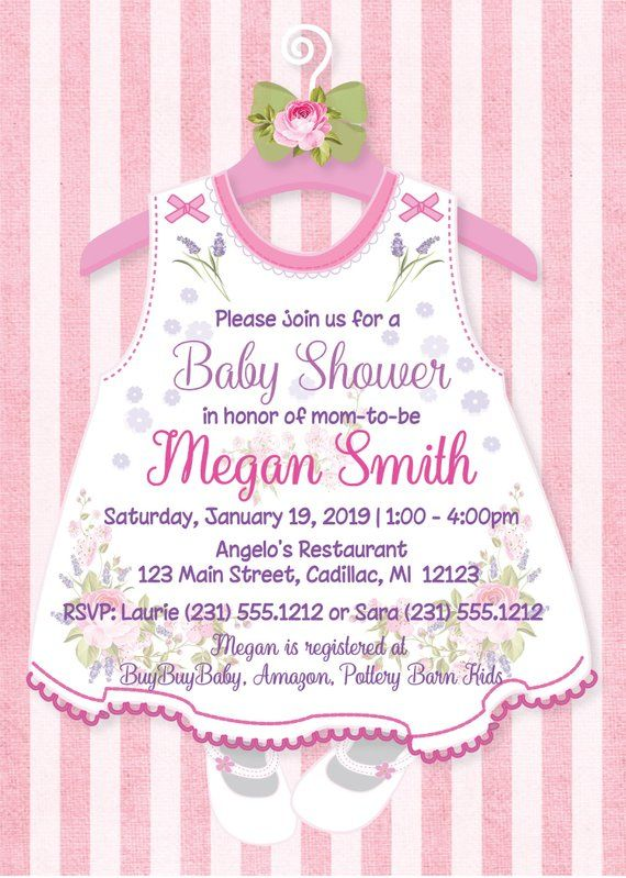 photograph regarding Printable Girl Baby Shower Invitations identified as Floral Youngster Shower Invitation, Very little Gown Youngster Invitation