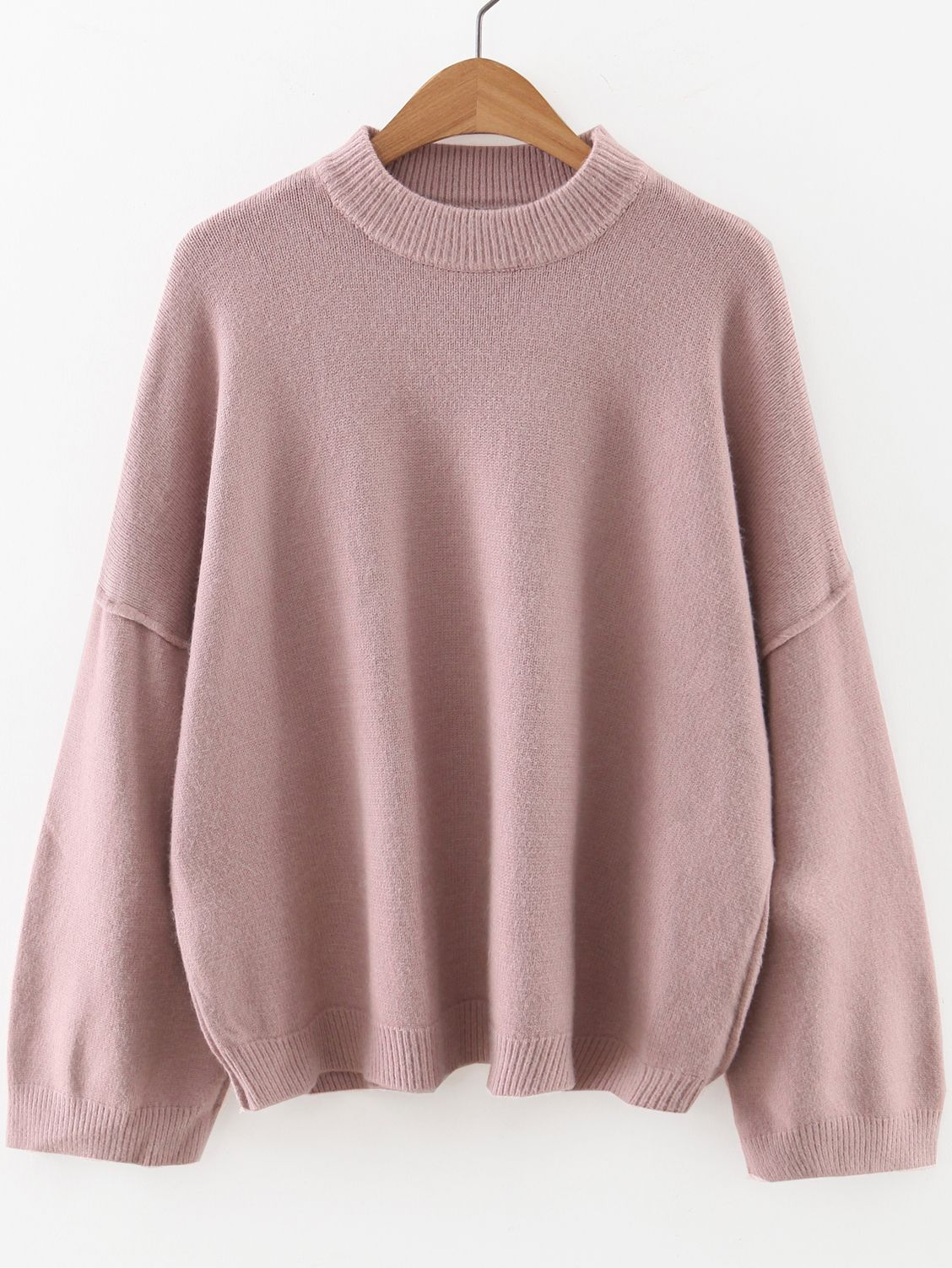 69e68ebb3 Shop Pink Crew Neck Drop Shoulder Sweater online. SheIn offers Pink ...
