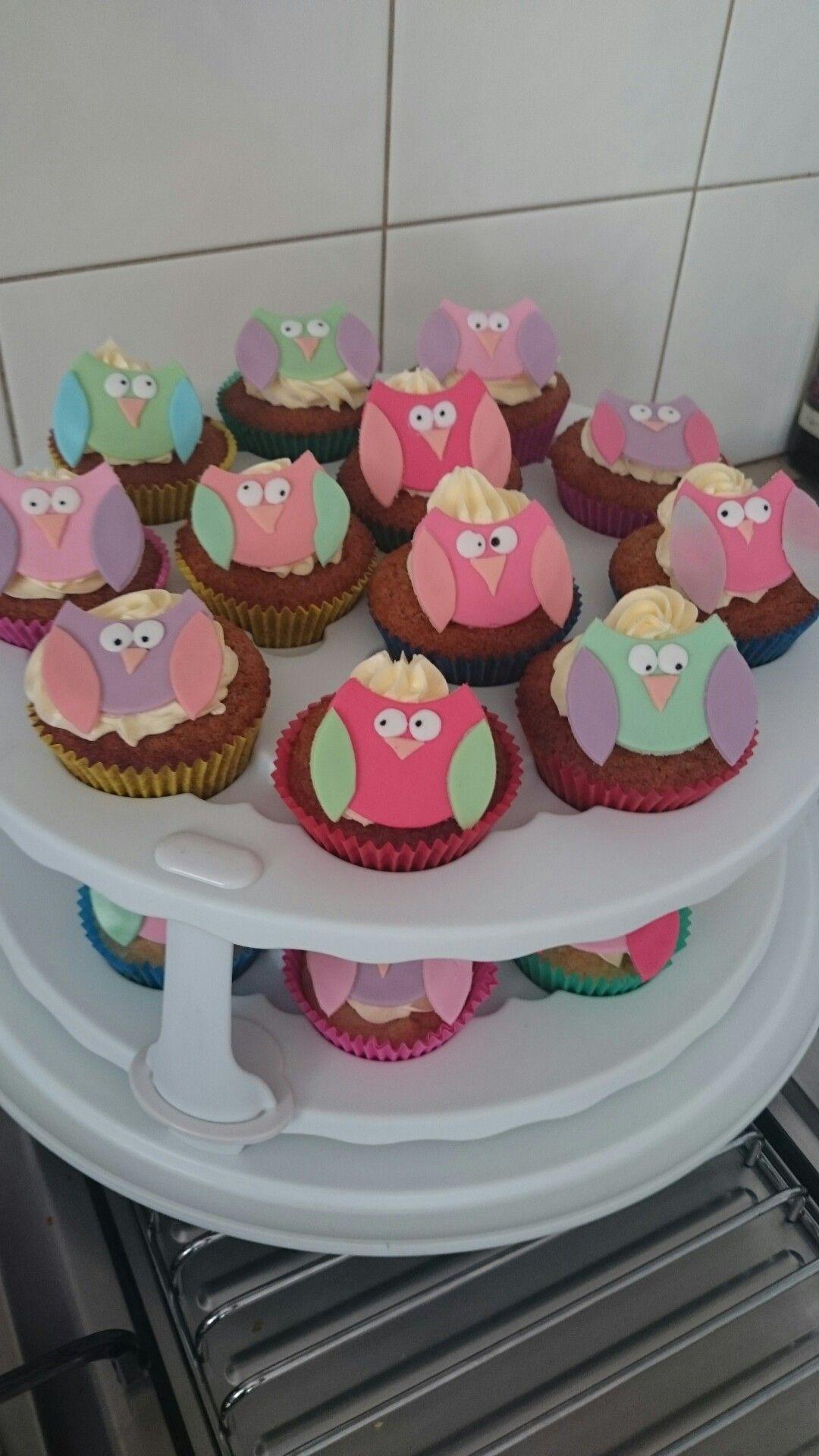 Owl fondant buttercream vanilla cupcakes kids birthday cake