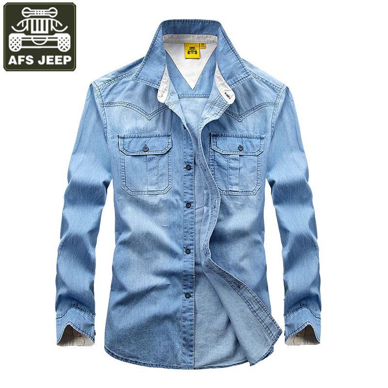 9a97aebdec AFS JEEP Brand Shirt Men 2017 Long Sleeve Denim Shirt Men Cotton Jeans Shirt  Plus Size