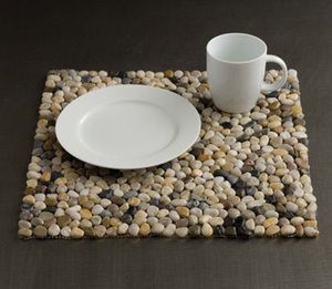 Beach,Pebbles,Stone,Placemat,-,Riverbed,Brown,Culinary: