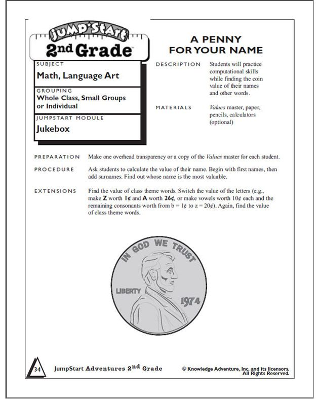 A Penny For Your Name Addition Problems For Second Grade Math
