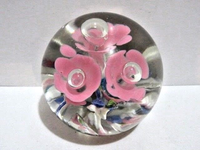 Clair Art Glass Ashtray Trumpet Flowers Hand Blown Paperweight Style Vintage St Art Glass
