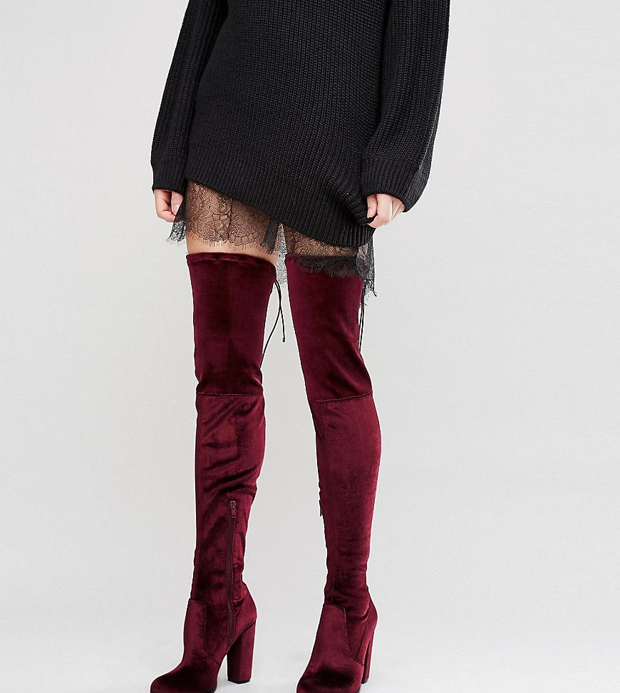 ASOS KINGDOM Velvet Heeled Over The Knee Boots Red | Boots
