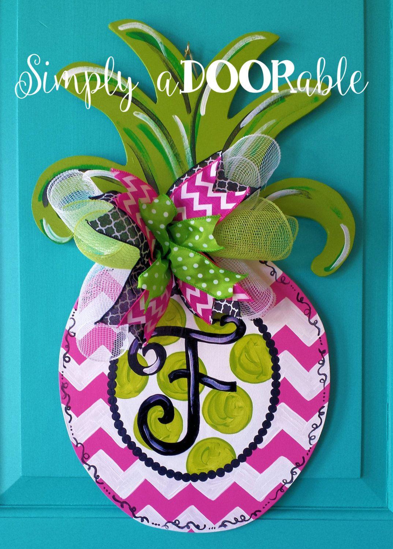 Simply ADOORable Pineapple Wood Door Hanger Summertime Wood Door Hanger Hot  Pink Pineapple Door Decor (