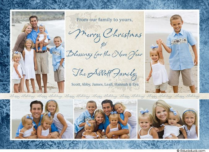 Vintage christmas photo card blue beach family 2010