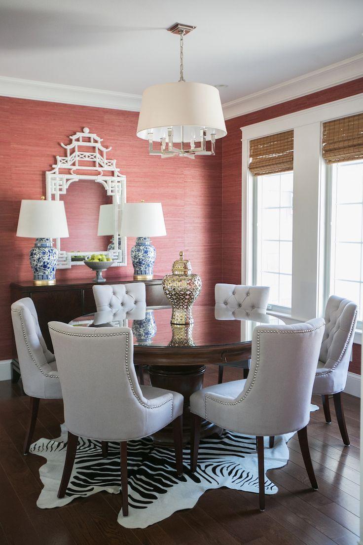 dining room coral grasscloth wallpaper pagoda mirror