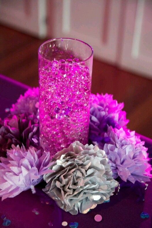 Paper flower and water bead centerpiece wedding