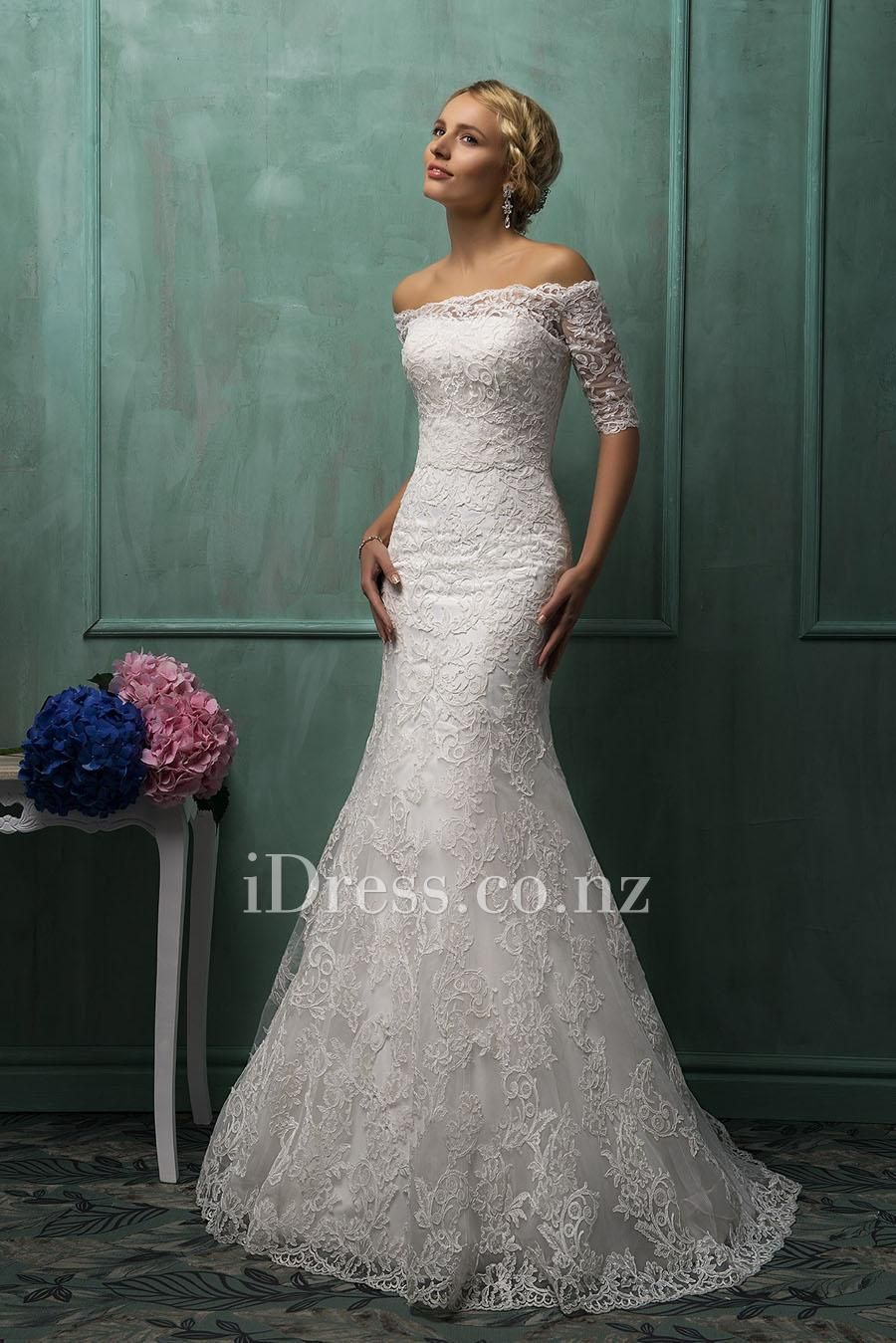 09f72d84731b Two-piece Strapless Lace Overlay Mermaid Wedding Gown with Detachable Off  Shoulder Sheer Lace Jacket