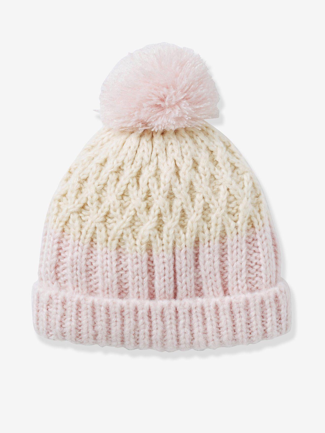 Bonnet fille bicolore beige clair - Couleurs toutes douces et grosse maille  torsadée pour un bonnet 171c152faa4