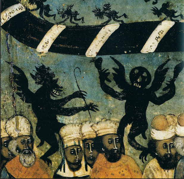 Demons from a Russian depiction of the Last Judgement ~ 18th century.