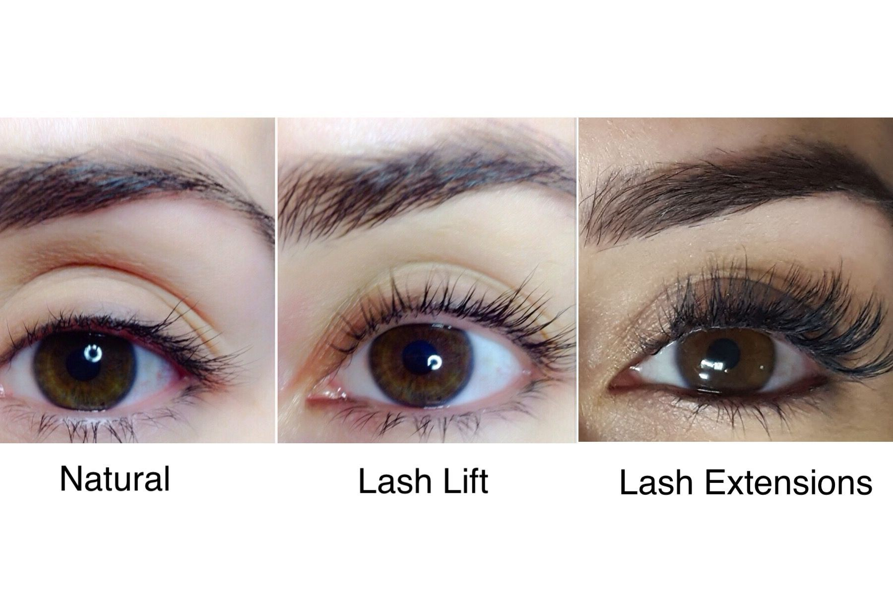 30feaadc6e2 The difference between natural lashes, a lash lift and lash extensions.  Done by @beautybarpickering