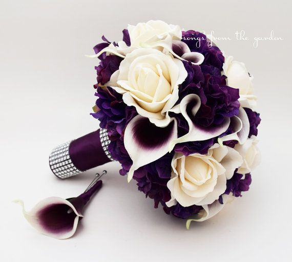 Bridal Bouquet Real Touch Picasso Callas Ivory Roses Purple Hydrangea Real Touch Rose Grooms Boutonniere Purple Plum White Wedding Bouquet #bridalbouquetpurple