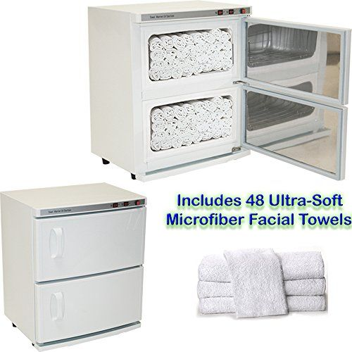 Buy High Capacity Double-Decker Hot Towel Cabinet & Ultraviolet Sterilizer 48 Towels Included Salon Spa Beauty Equipment