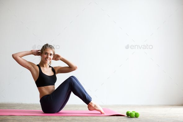 Woman doing fitness exercise. by MediaGroupBestForYou. Woman doing fitness exercise, at home. #AD #f...