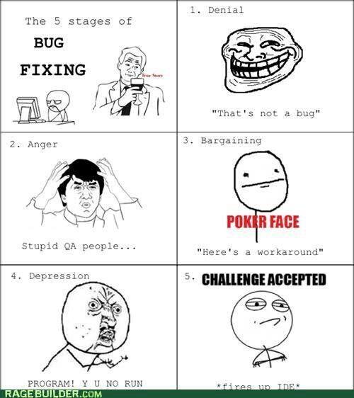 5 stages of bug fixing #geekhumor #nerdhumor