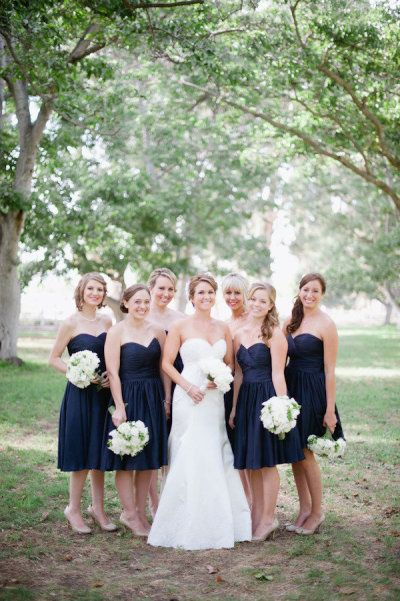 60188f4164f0 EXAMPLE OF SHORT BRIDESMAID DRESSES - DO WE LIKE THE LEGS SHOWING? navy and  gold bridesmaid dresses