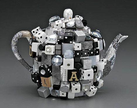 Diamond studded game pieces teapot