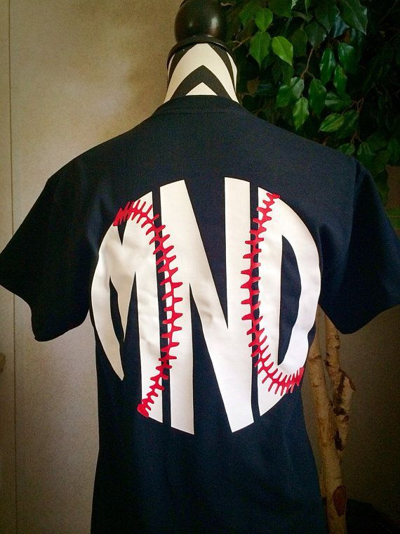 Baseball Monogram T Shirt With Stitches Aqua Mens Shi