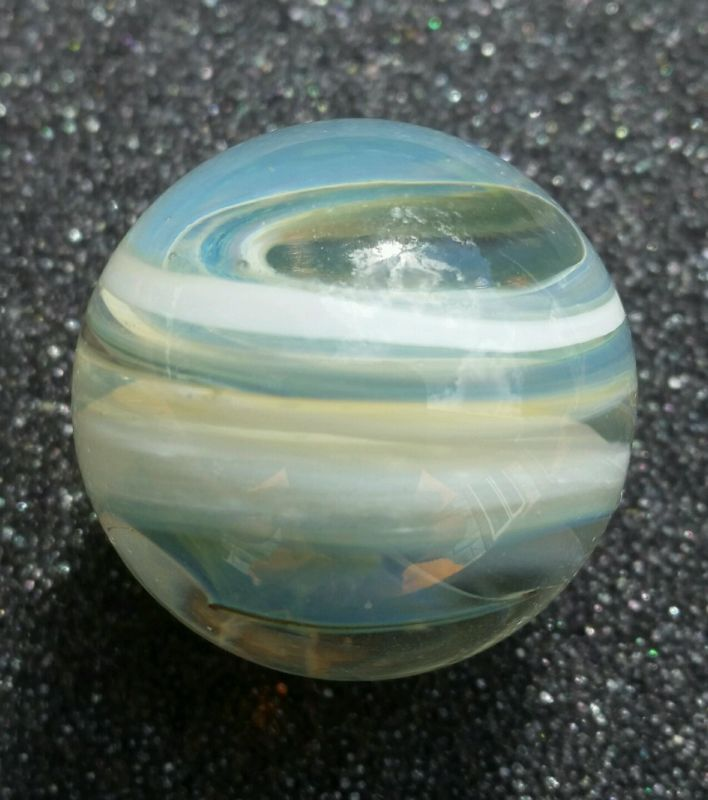 Blue/Green twisted boro handmade marble - http://hobbies-toys.goshoppins.com/marbles/bluegreen-twisted-boro-handmade-marble/