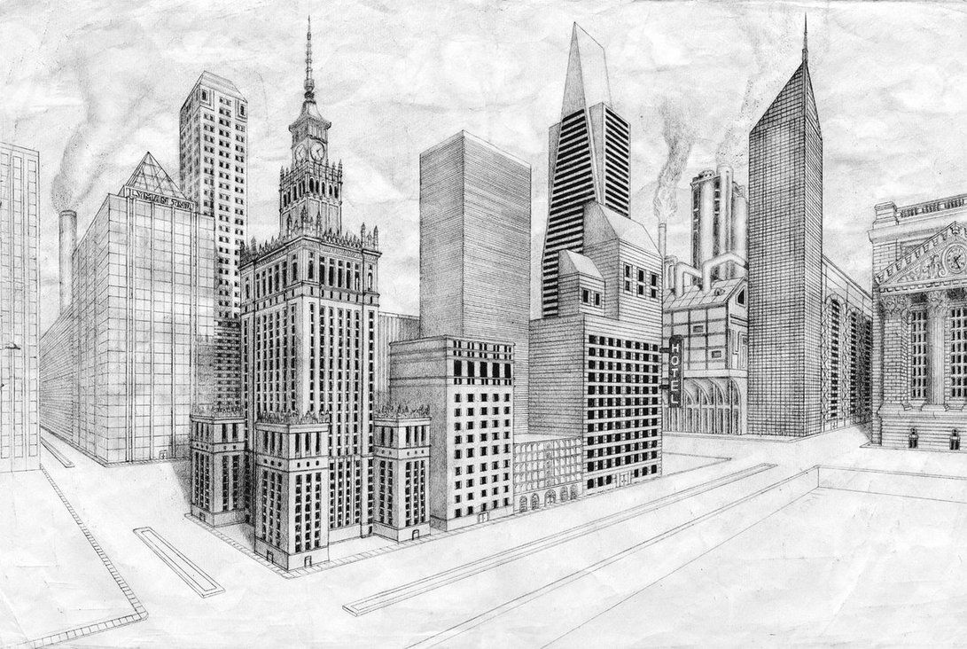 two point perspective drawings of cityscape  Google