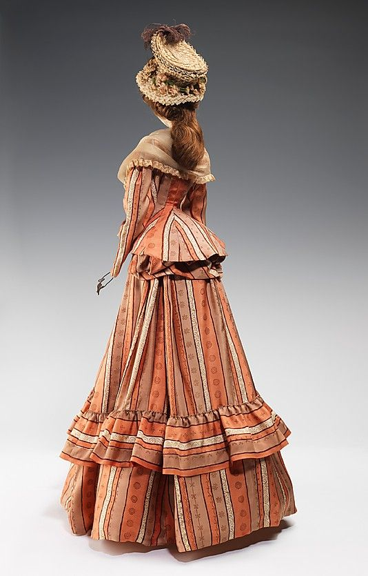 """""""1789 Doll"""" Agnés Drécoll  (French) Designer: Marthe Designer: Prevost Date: 1949 Medium: metal, plaster, hair, silk, straw, feather Dimensions: 31 x 17 1/2 in. (78.7 x 44.5 cm) Credit Line: Brooklyn Museum Costume Collection at The Metropolitan Museum of Art, Gift of the Brooklyn Museum, 2009; Gift of Syndicat de la Couture de Paris, 1949"""