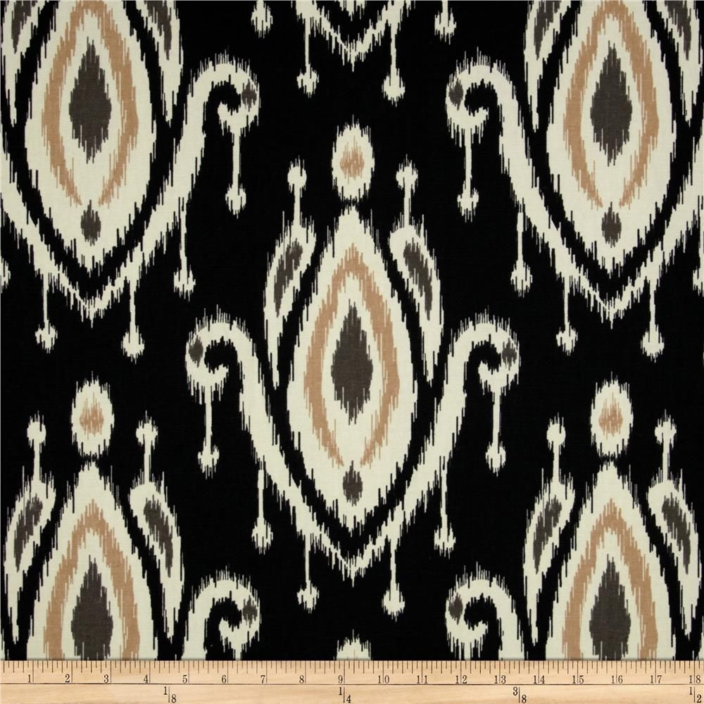 Ikat pattern drapery fabric discount ikat pattern - Large Ikat Print Gray Linen Look Drapery Fabric By Famous Maker Fabric By The Yard At Discount Prices