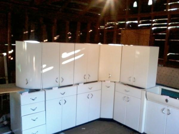 Vintage White Steel Kitchen Cabinets For Pantry Metal