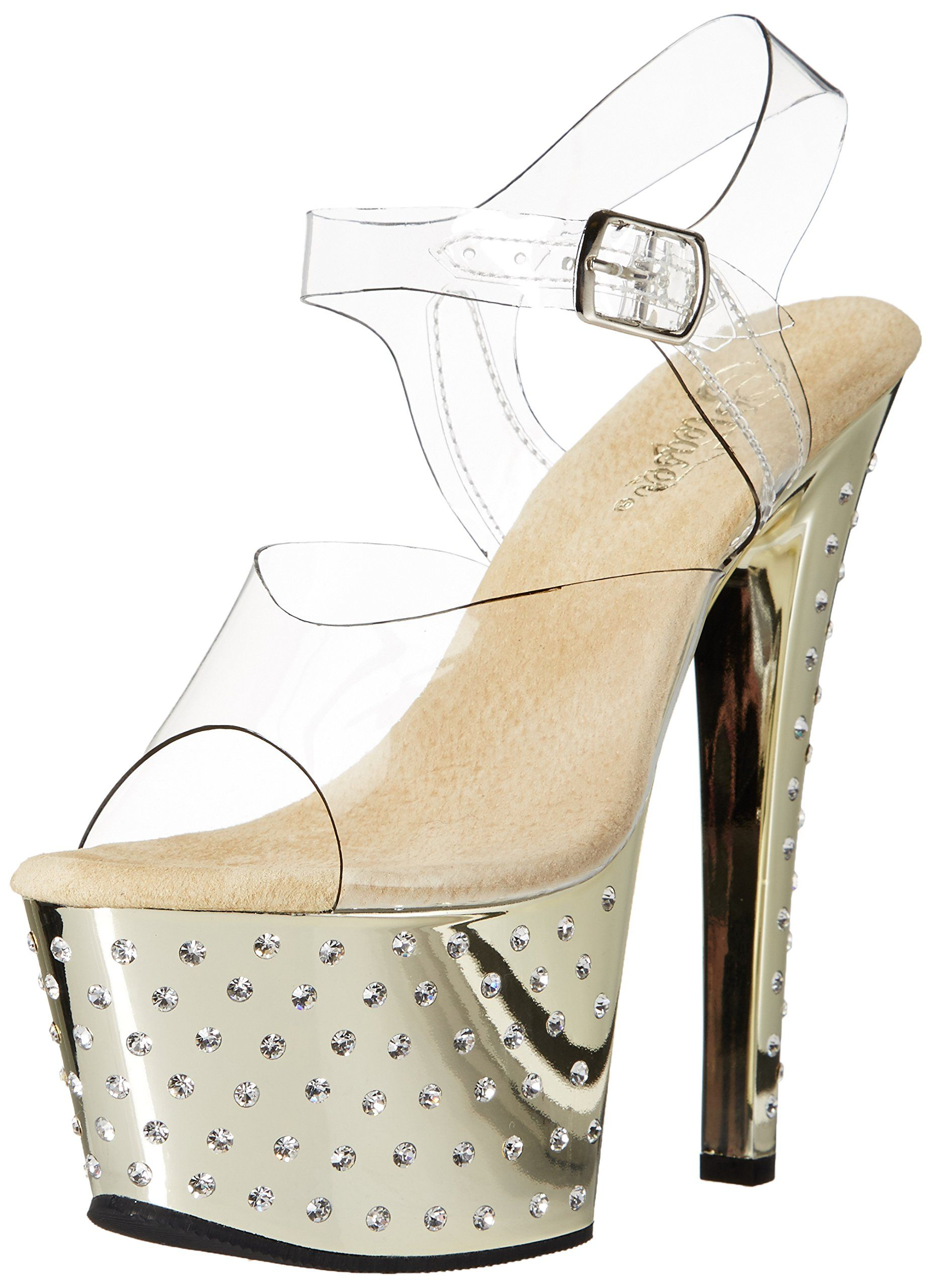 Pleaser Women's Stdus708/C/Gch Platform Dress Sandal, Clear/Gold Chrome, 8 M US. Dancer sandal featuring metallic platform and heel with sparkling embellishment. Clear upper. Ankle strap with buckle closure.