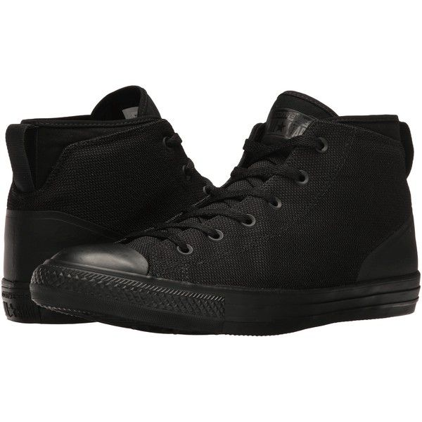 Converse Chuck Taylor(r) All Star(r) Syde Street Textile Mid... ($50) ❤  liked on Polyvore featuring men's fashion, men's shoes, men's sneakers,  black, ...