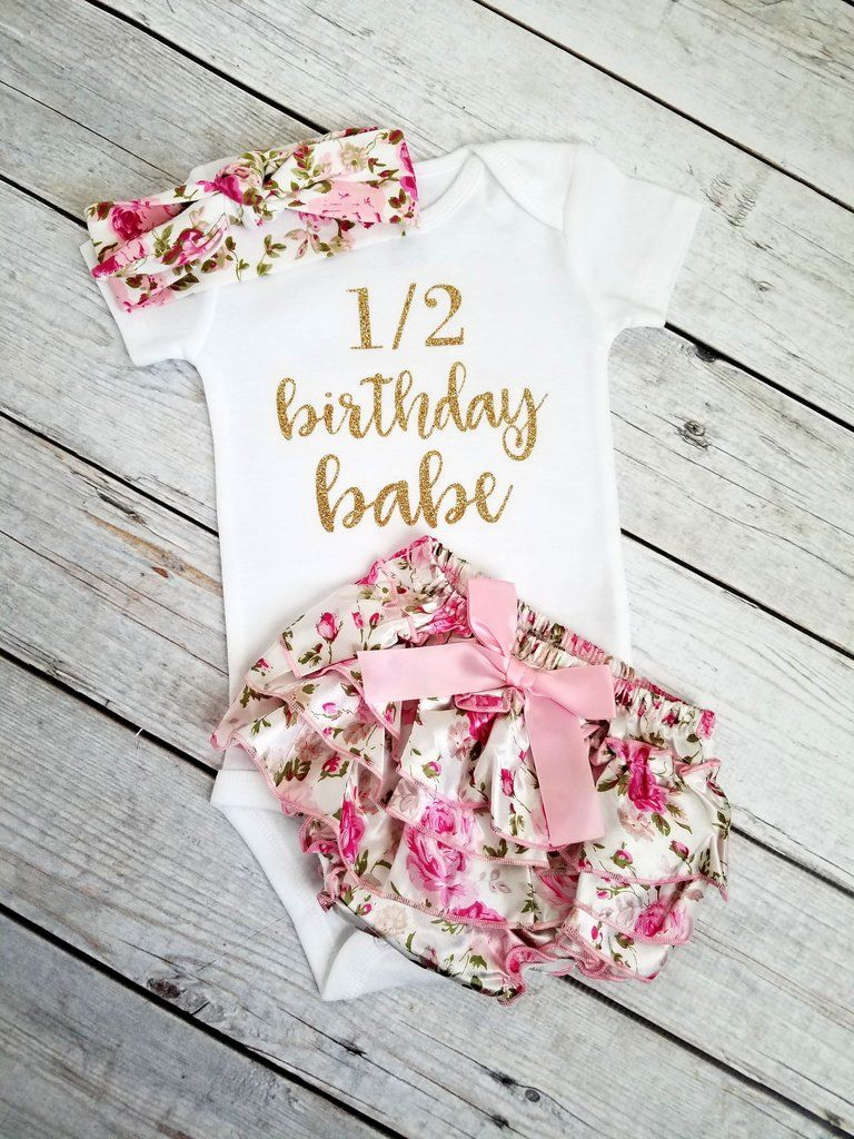 6 Month Birthday Outfit Girls Half Birthday Pink And Gold