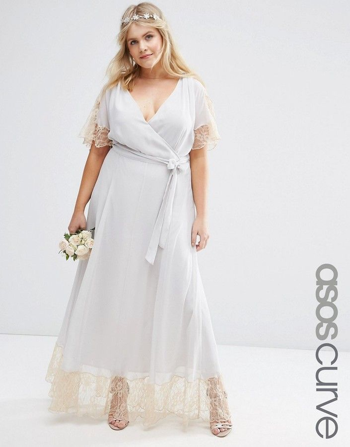ASOS Curve ASOS CURVE WEDDING Maxi Dress with Lace Trim, Wedding ...