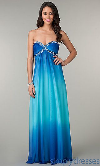 Long Strapless Sweetheart Blue Ombre Dress at SimplyDresses.com ...