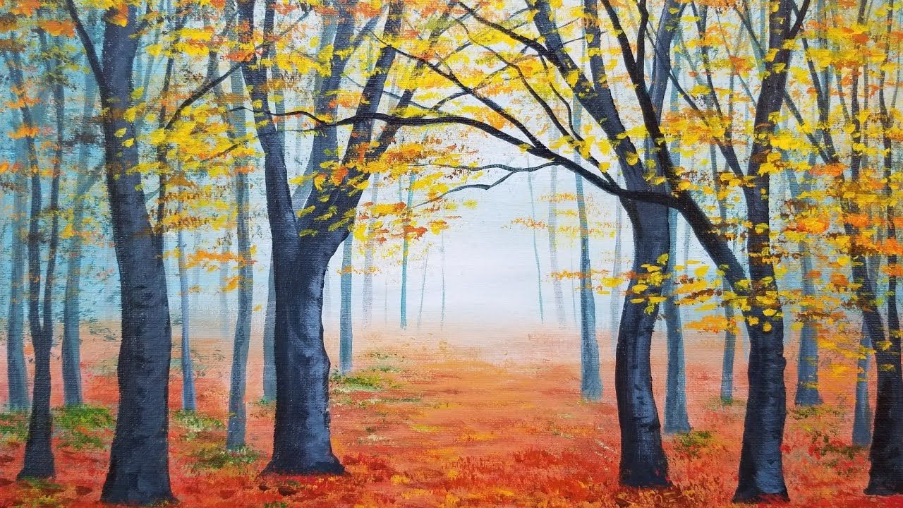 Easy Autumn Forest Landscape Acrylic Painting Live Instruction Youtube Fall Canvas Painting Autumn Painting Forest Painting