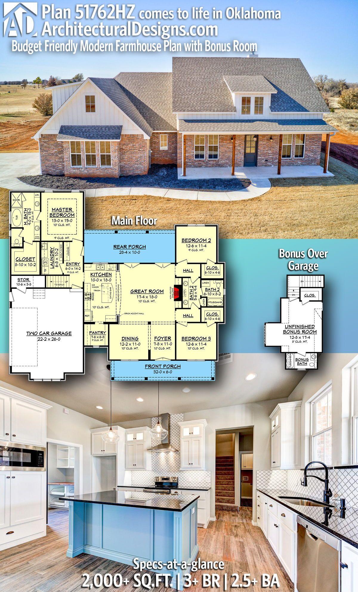Plan 51762hz Budget Friendly Modern Farmhouse Plan With Bonus Room Modern Farmhouse Plans Farmhouse Plans House Plans Farmhouse