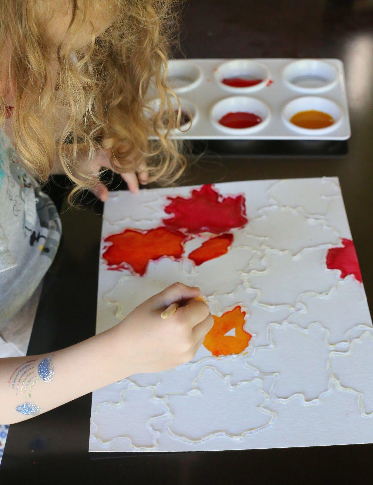 Fall Leaf Watercolor Resist Art