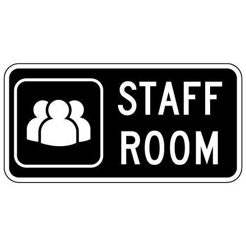 staff room sign with symbol and text