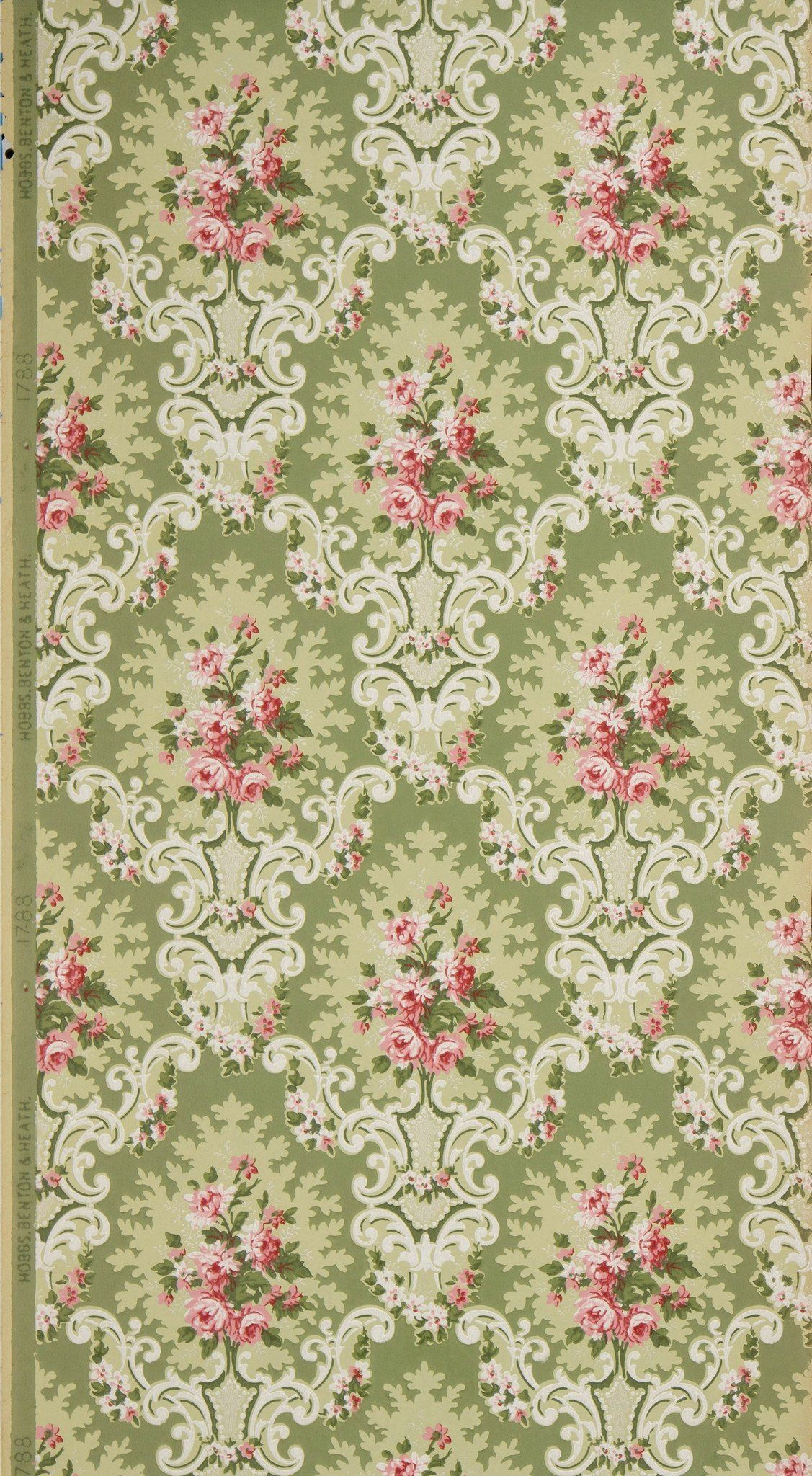 Rose Clusters In Rococo Cartouches Antique Wallpaper Remnant Antique Wallpaper Vintage Wallpaper Patterns Wallpapers Vintage