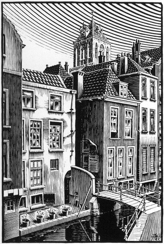 Delft: Voldersgracht, woodcut by M.C. Escher, 1939