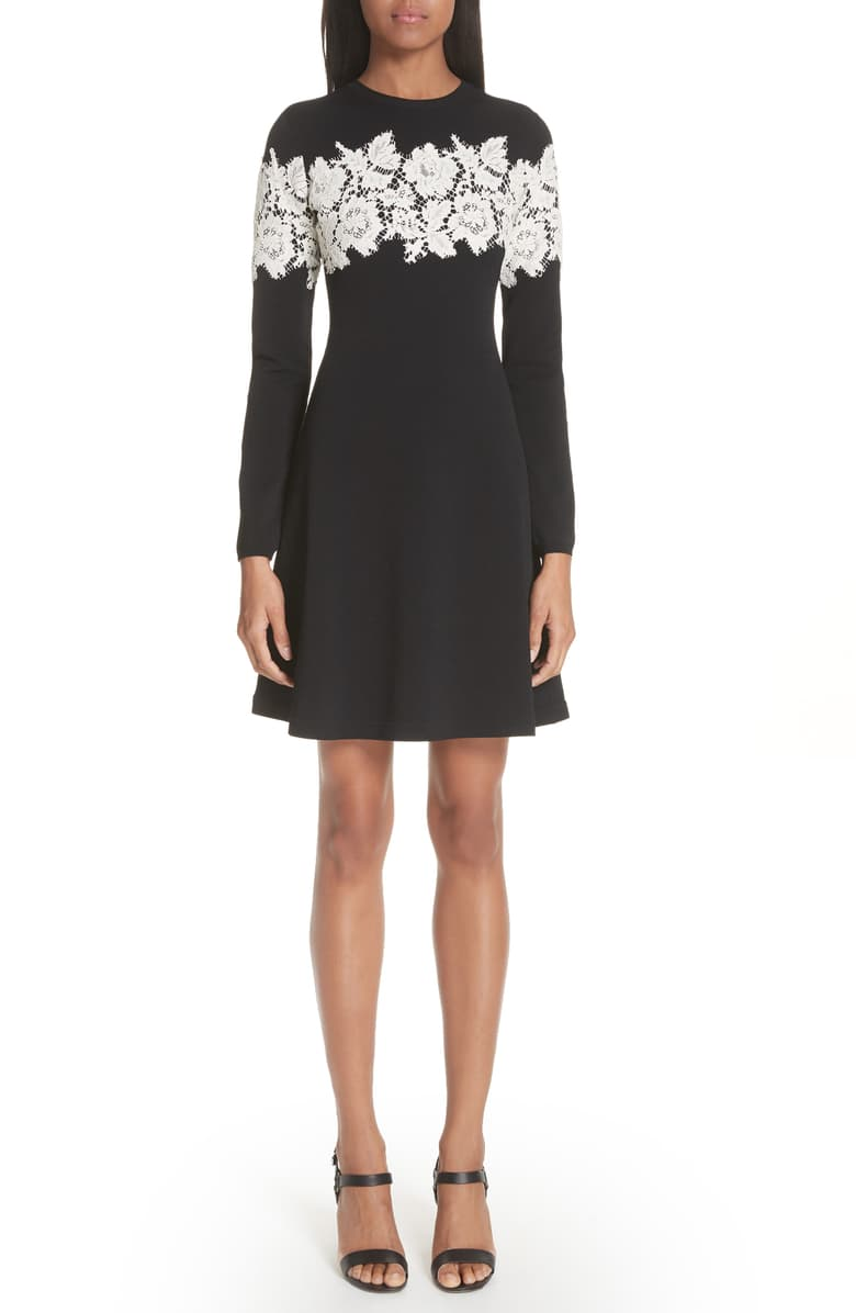 Valentino Lace Stripe Knit Dress Nordstrom Fashion Clothes Women Striped Knit Dress Striped Knit [ 1196 x 780 Pixel ]