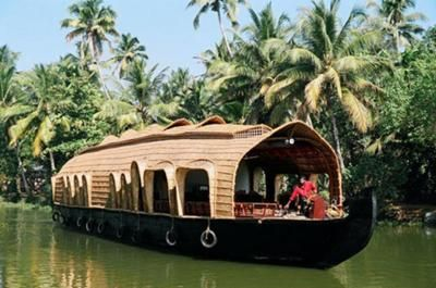 Boat house for tourists in Kerala, India