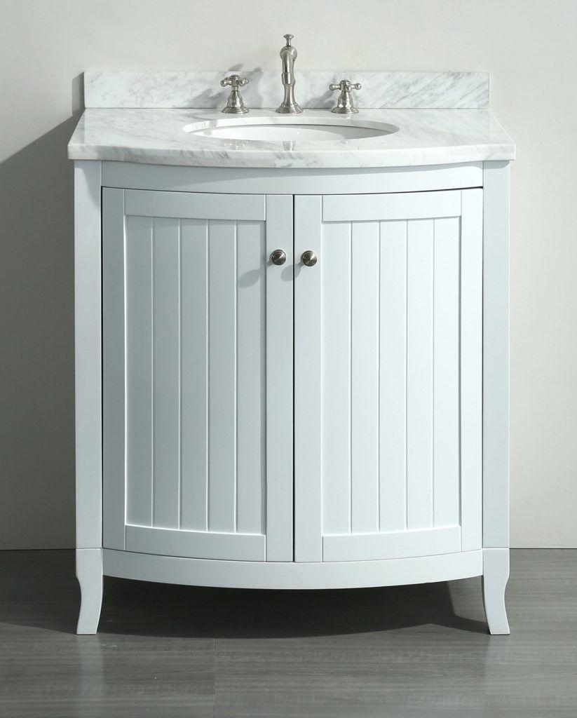 30 Inch White Bathroom Vanity With Carrara Top