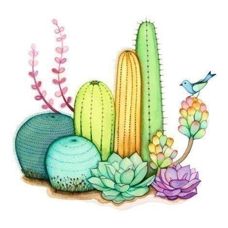 acuarela, pintura, impresión del arte de pared, jardín de cactus
