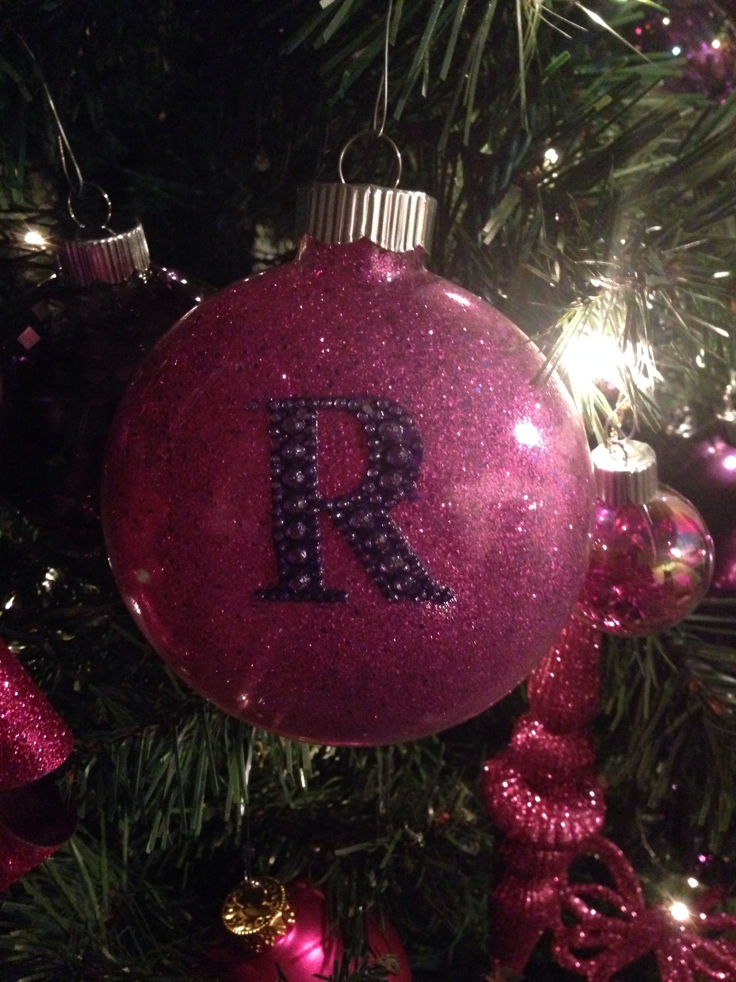 Clear ornament bought at Hobby lobby. Added glitter and