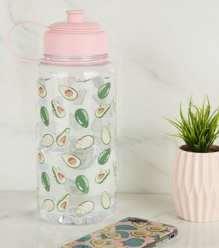 Pink Avocado 1 Litre Water Bottle New Look 1 Liter Water Bottle Cute Water Bottles Pink Water Bottle