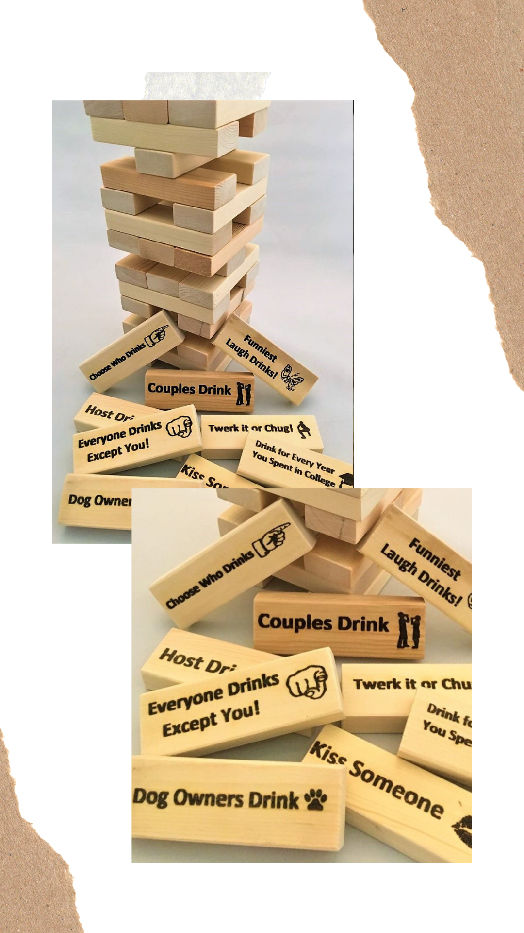 Custom made Jenga games can be personalized for your next