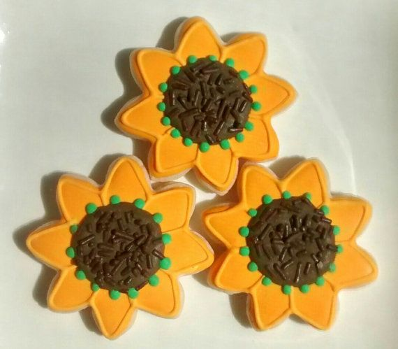 Sunflower sugar cookies 2.5 or large by SweetArtSugarCookies